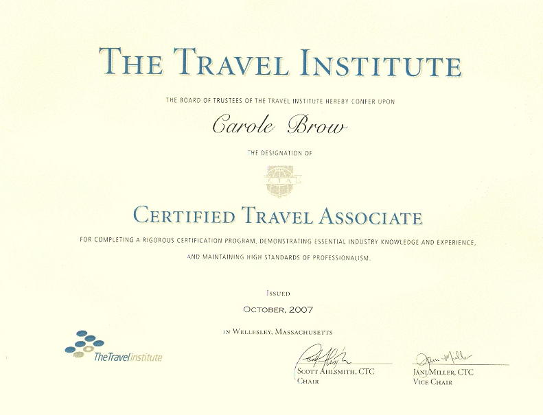 Carole Brow, CTA - Certified Travel Associate of the Travel Institute